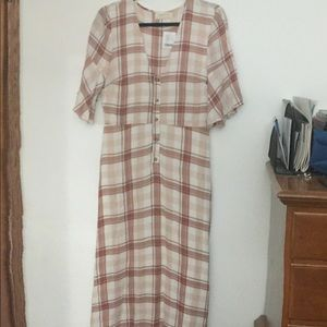 NWT frill sleeve, plaid maxi dress
